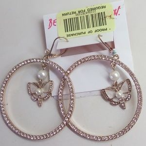 Betsey Johnson New Butterfly Hoop Earrings